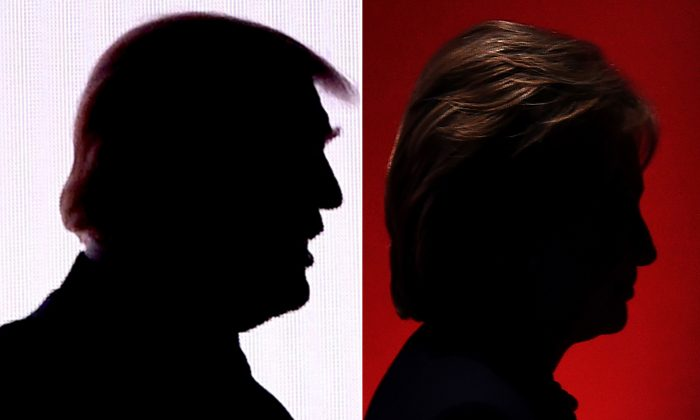 The silhouettes of Republican presidential nominee Donald Trump (L) on July 18, 2016, and Democratic presidential nominee Hillary Clinton on Feb. 4, 2016. (DESK/AFP/Getty Images)