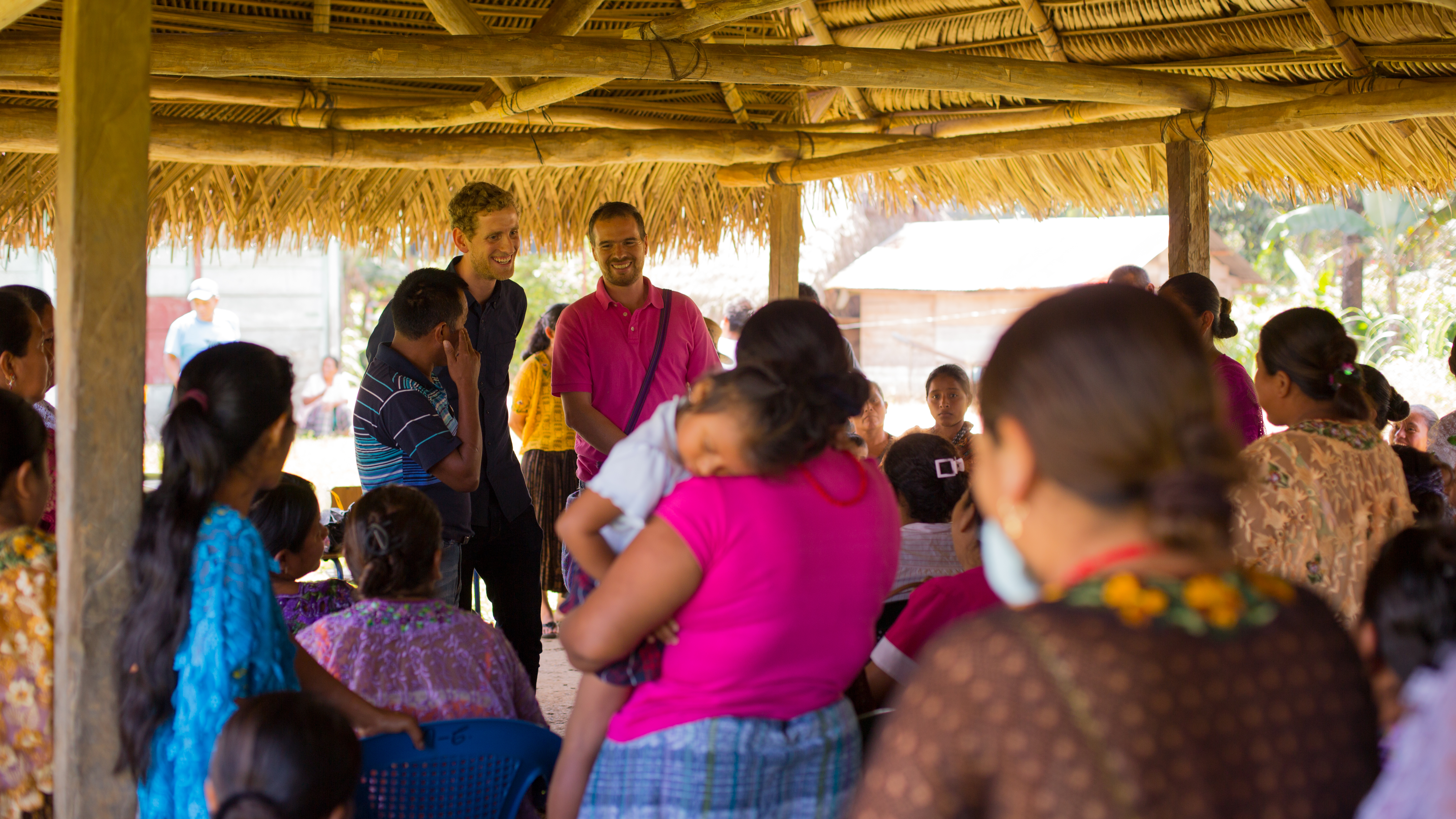 """Michael Dorgan meeting with a Mayan community in Guatemala while making his film, """"Appetite for Destruction."""" (Courtesy of Michael Dorgan)"""
