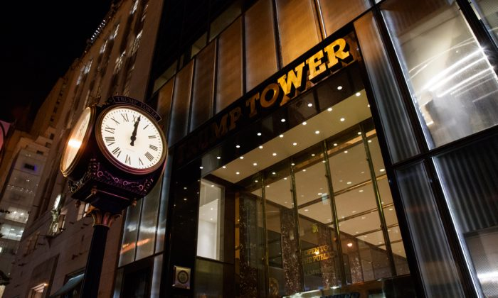 A clock sits outside of Trump Tower in New York on Oct. 8, 2016. (AP Photo/Evan Vucci)