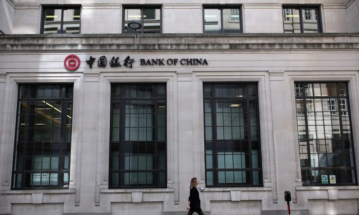 A Bank of China branch in the City of London May 13, 2016. Bank of China is one of a number of Chinese banks looking to expand their presence abroad. (Dan Kitwood/Getty Images)