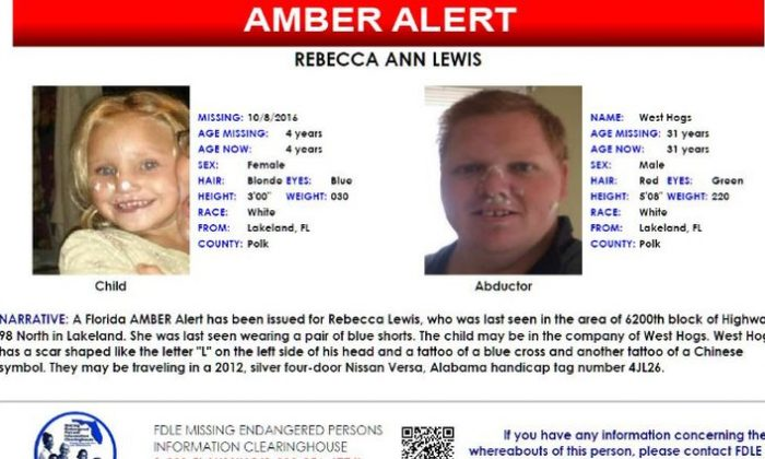 Police have issued Amber Alerts in five states: Georgia, Kentucky, Florida, Alabama, and Tennessee in the abduction of Rebecca Lewis. West Wild Hogs abducted Lewis on Oct. 8 and were spotted in Nashville, Tennessee on Oct. 10. (Screenshot)