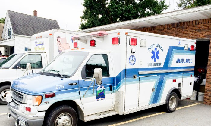 The Port Jervis Volunteer Ambulance Corps ambulance at the Corps' bay in Port Jervis on Sept. 29, 2016. (Holly Kellum/Epoch Times)