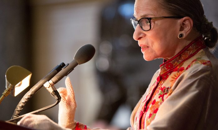 """Supreme Court Justice Ruth Bader Ginsburg in the U.S. capitol building on Capitol Hill in Washington, D.C. Ginsburg called Colin Kaepernick's protest against the American flag """"dumb and disrespectful"""" on Oct. 10. (Allison Shelley/Getty Images)"""