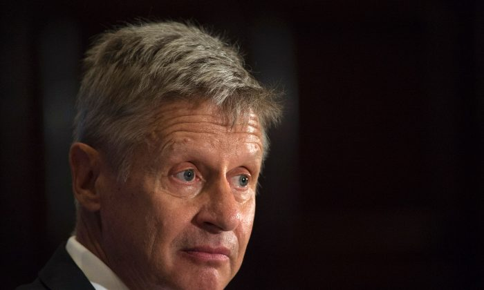 Libertarian Party presidential candidate Gary Johnson at a National Press Club Luncheon on July 7, 2016, in Washington, DC.(Molly Riley/AFP/Getty Images)
