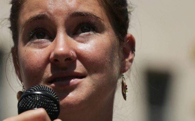 Actress Shailene Woodley speaks during a rally on Dakota Access Pipeline August 24, 2016 outside U.S. District Court in Washington, DC. Woodley was arrested for criminal trespassing at the North Dakota construction site on Oct. 10. (Alex Wong/Getty Images)