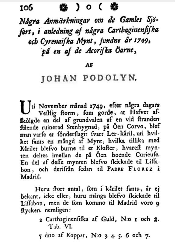 An excerpt from Johan Frans Podolyn's 1778 article in the Publications of the Royal Society of Sciences and Letters in Gothenburg. (Public Domain)