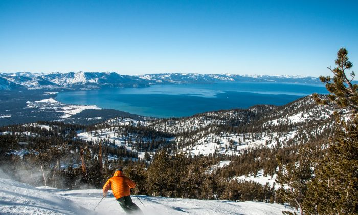 Skiing with a view, at Heavenly Mountain Resort. (Courtesy of Tahoe South)