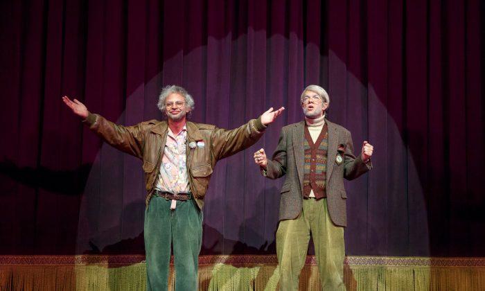 "(L–R) Gil Faizon (Nick Kroll) and George St. Geegland (John Mulaney) in ""Oh, Hello on Broadway."" (Joan Marcus)"