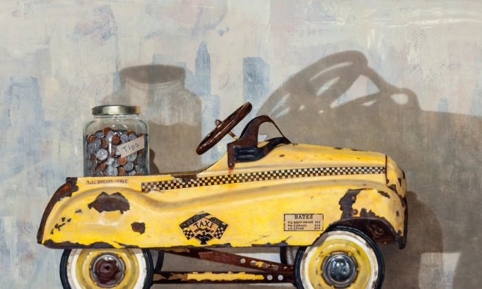 """""""College Fund"""" by Richard B. Hall. Oil on canvas, 34 by 40 inches. (Courtesy of Rehs Contemporary Galleries, Inc.)"""