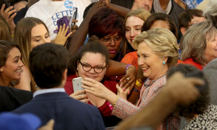 Democratic presidential candidate Hillary Clinton at a rally at Miami Dade College in Miami, Tuesday, Oct. 11, 2016. (Mike Stocker/South Florida Sun-Sentinel via AP)