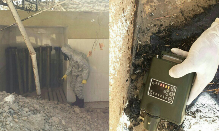 A chemical weapons cache captured from ISIS in Qayarah, Iraq, contains homemade rockets and mustard gas. (Ed Alexander/BLACKOPS Cyber)