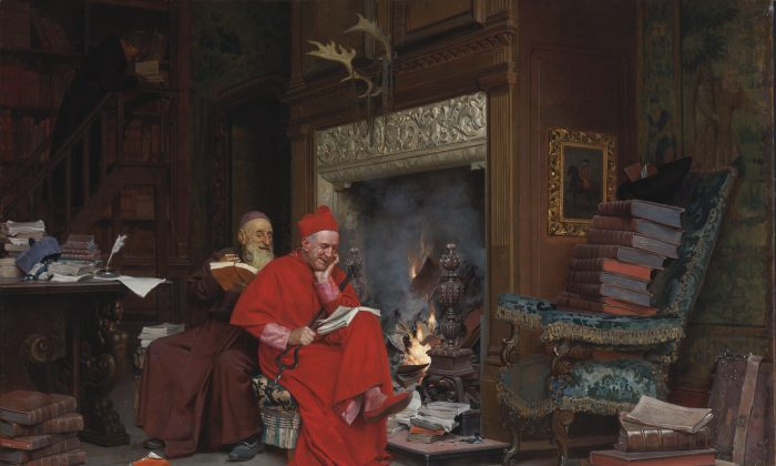 """The Committee on Moral Books"" by Jehan Georges Vibert (1840–1902), French. 17.7 inches by 25.5 inches. Oil on canvas. Private collection. (Courtesy of Art Renewal Center)  32. Gustave Doré (1832–1883) French La famille du saltimbanque: l'enfant blesse"