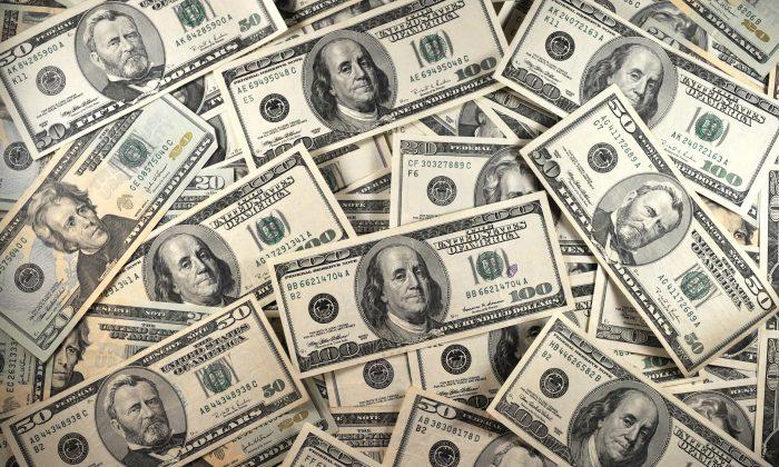 U.S. currency is seen in this Jan. 30, 2001 image. (Karen Bleier/AFP/Getty Images)