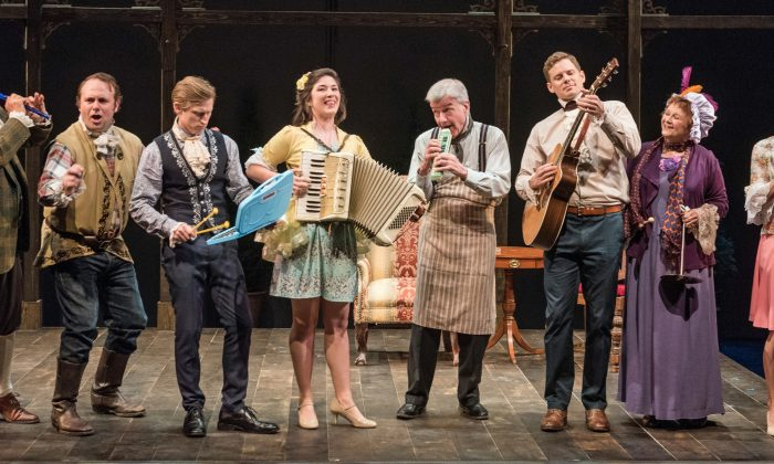 """The cast of """"She Stoops to Conquer"""": (L–R) John Rothman, Richard Thieriot, Jeremy Beck, Justine Salata, James Prendergast, Tony Roach, Cynthia Darlow, and Mairin Lee. (Marielle Solan)"""