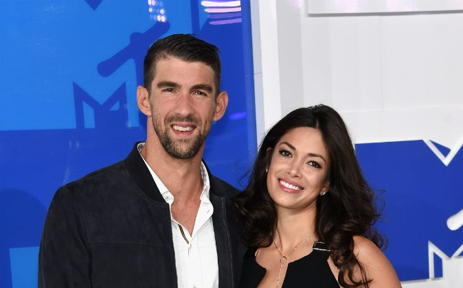 Olympian Michael Phelps and finace Nicole Johnson attends the 2016 MTV Video Music Awards at Madison Square Garden on August 28, 2016 in New York City. Phelps reportedly secretly married Johnson in June. (Jamie McCarthy/Getty Images)