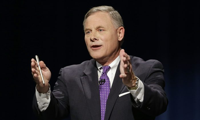Sen. Richard Burr (R-N.C.) during a live televised Senate debate with Democratic challenger Deborah Ross at UNC-TV studios in Research Triangle Park, N.C., Oct. 13, 2016. (Gerry Broome/AP Photo)
