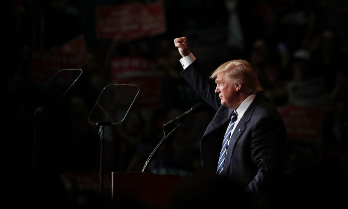 Republican presidential nominee Donald Trump speaks at a campaign rally at the W.L. Zorn Arena in Eau Claire, Wisconsin on Nov. 1, 2016. Trump's poll numbers have sharply risen since the FBI announced its investigation into Hillary Clinton's email server.  (Chip Somodevilla/Getty Images)