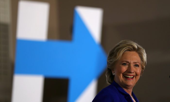 Democratic presidential nominee Hillary Clinton speaks during a campaign rally at UA Local 525 Plumbers and Pipefitters Union hall in Las Vegas, Nevada on Nov. 2, 2016. The U.S. presidential general election is Nov. 8. (Justin Sullivan/Getty Images)