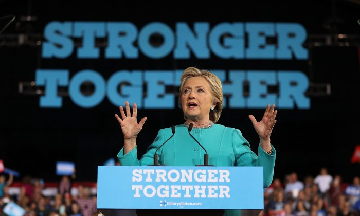 Democratic presidential nominee former Secretary of State Hillary Clinton speaks during a campaign rally at the Cleveland Public Auditorium  on Nov. 6, 2016 in Cleveland, Ohio.  (Justin Sullivan/Getty Images)