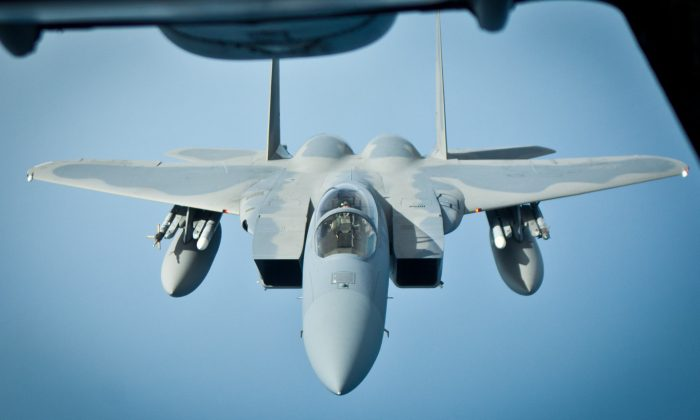 F-15 Eagle jet fighters, like that seen here, are also among the aircraft participating in Vigilant Ace. (Benjamin Chasteen/The Epoch Times)
