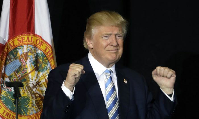 Republican presidential candidate Donald Trump pumps his fist after a campaign speech, in Sarasota, Fla., on Nov. 7, 2016. (AP Photo/Chris O'Meara)