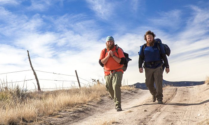 Veterans Anthony Anderson (L) and Tom Voss decided to walk 2,700 miles from Wisconsin to California to try to sort out some of the issues they faced—including PTSD and moral injury—after being in combat situations in Iraq. (Courtesy of Veterans Trek Production)