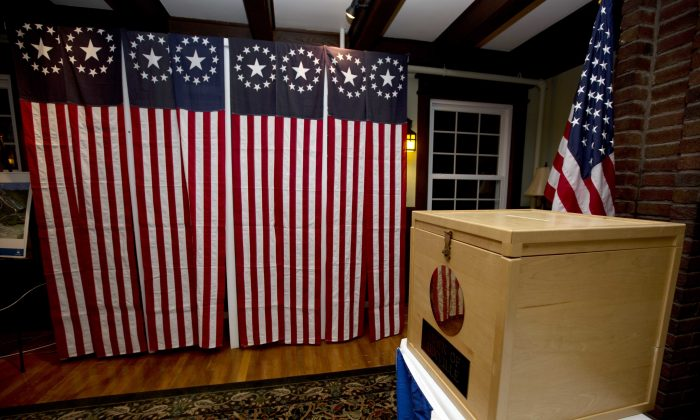 A ballot box is set for residents in Dixville Notch, N.H., on Nov. 7, 2016. (Jim Cole/AP Photo)