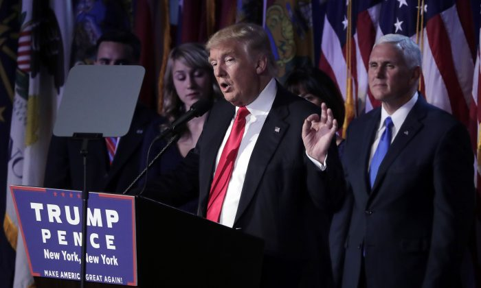 President-elect Donald Trump gives his acceptance speech during his election night rally,  in New York on Nov. 9, 2016. (AP Photo/Julie Jacobson)