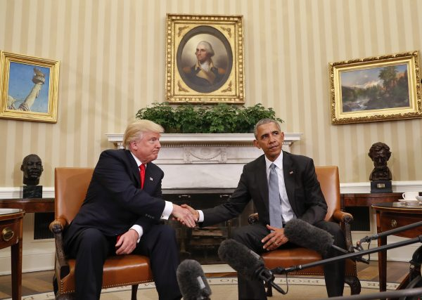 Then-president Barack Obama and then-President-elect Donald Trump shake hands following their meeting in the Oval Office of the White House in Washington on Nov. 10, 2016. (AP Photo/Pablo Martinez Monsivais)