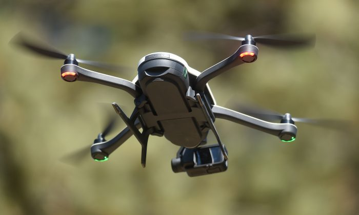 A new GoPro Karma foldable drone is seen flying during a press event in Olympic Valley, California on September 19, 2016.  / AFP / JOSH EDELSON        (Photo credit should read JOSH EDELSON/AFP/Getty Images)
