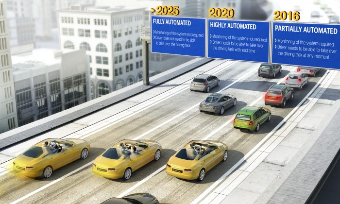 Vehicle automation is set to be rolled out in stages, starting with partially automated driving from 2016, highly automated driving from 2020, and fully automated systems available from 2025. (Courtesy of Continental)
