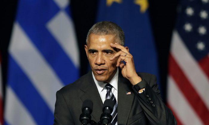 U.S. President Barack Obama delivers a speech at opera of Athens on Nov. 16, 2016. (AP Photo/Thanassis Stavrakis)