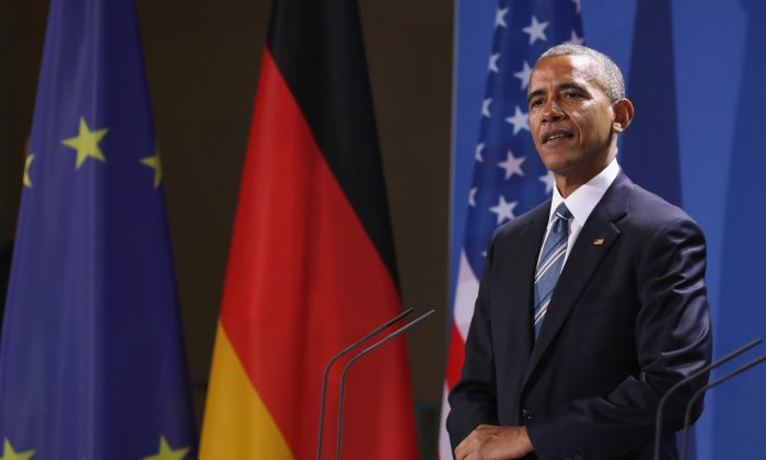 President Barack Obama and German Chancellor Angela Merkel (not pictured) speak to the media following talks at the Chancellery in Berlin, Germany on Nov. 17, 2016. (Sean Gallup/Getty Images)