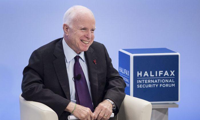 Sen. John McCain, R-Ariz., at the Halifax International Security Forum in Halifax on Nov.19, 2016. (Darren Calabrese/The Canadian Press via AP)