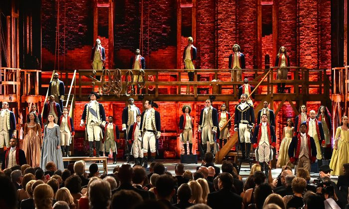 The cast of 'Hamilton' performs onstage during the 70th Annual Tony Awards at The Beacon Theatre on June 12, 2016 in New York City.  (Photo by Theo Wargo/Getty Images for Tony Awards Productions)