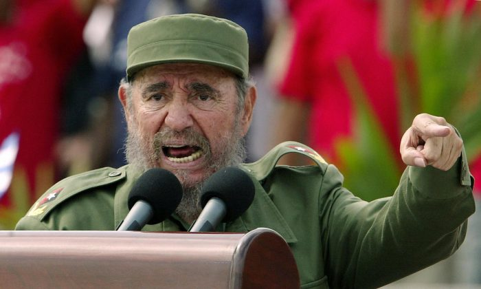 Habana, CUBA:  Cuban President Fidel Castro presides over a massive May Day demonstration at Havana's Plaza de la Revolucion (Revolution Square), 01 May 2005. (ADALBERTO ROQUE/AFP/Getty Images)