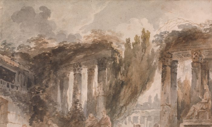 """""""Capriccio: Excavation of Roman Ruins,"""" circa 1760-62, by Jean Honoré Fragonard (French, Grasse 1732–1806 Paris). Brush and brown and gray wash and watercolor over black chalk on antique laid paper, 10 5/16 by 12 5/16 inches. Private collection (Courtesy of The Metropolitan Museum of Art). On view at The Met Fifth Avenue in Gallery 691."""
