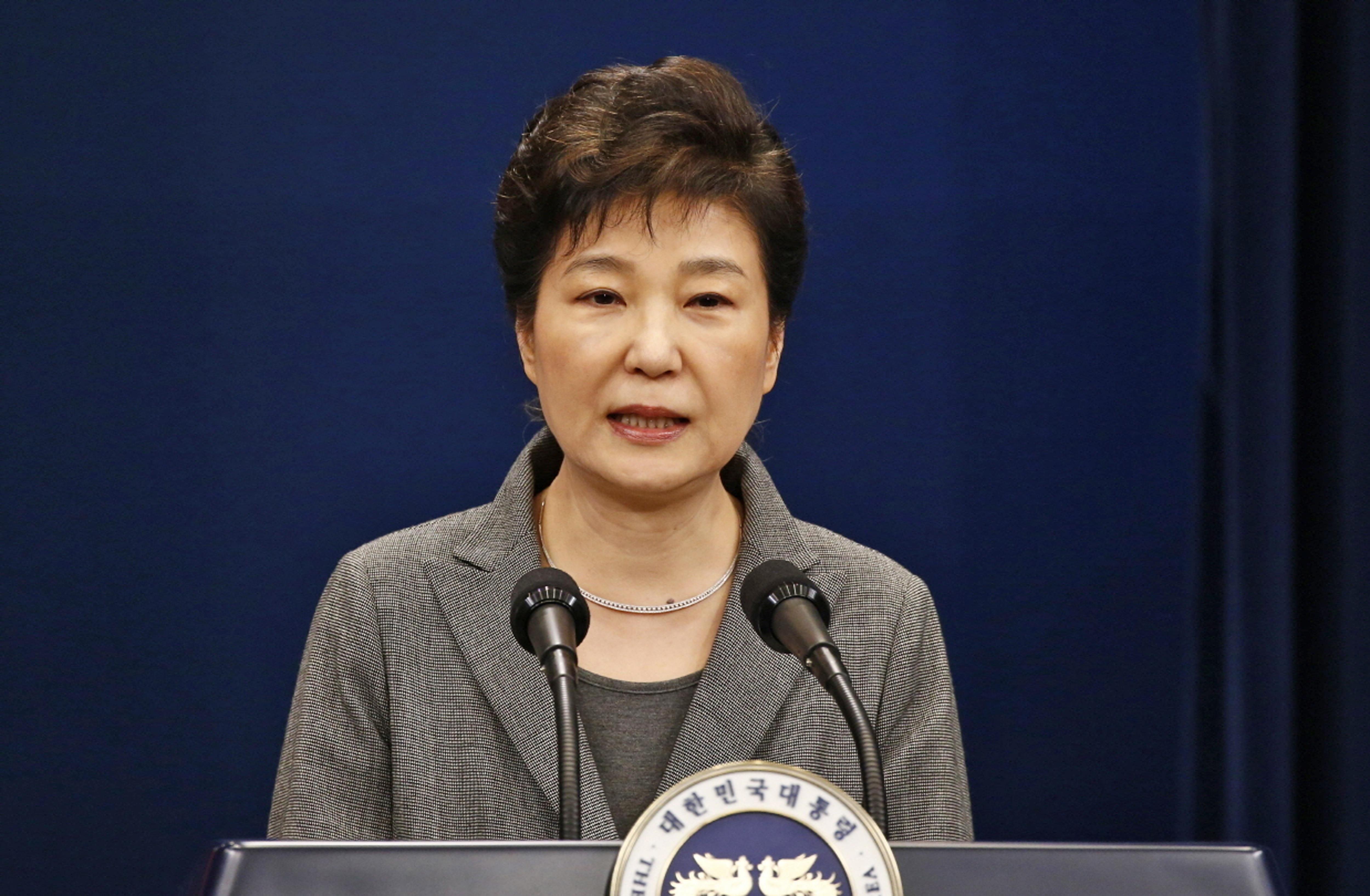 South Korean President Park Geun-hye makes a live televised address in Seoul, South Korea on Nov. 29, 2016. (Pool Photo via AP)