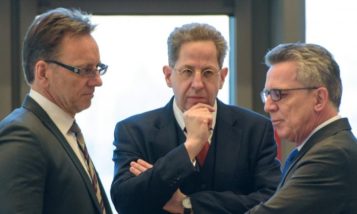 Hans-Georg Maassen, head of Germany's domestic intelligence service, at a meeting with interior ministers of German federal states, in Saarbruecken, Germany on Nov. 30, 2016. (Oliver Dietze/dpa/ via AP)
