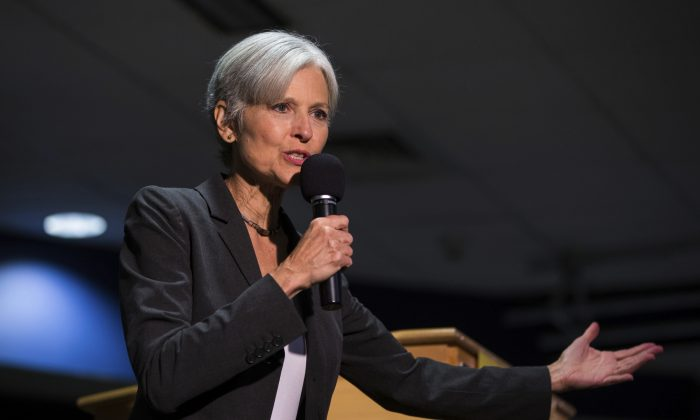 Green Party presidential candidate Jill Stein delivers remarks at Wilkes University in Wilkes-Barre, Pa., in this file photo. (Christopher Dolan/The Citizens' Voice via AP)