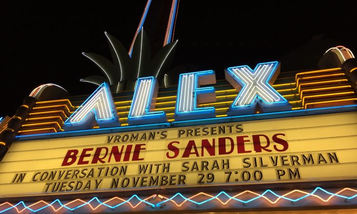 "Bernie Sanders held an event for his new book, ""Our Revolution: A Future to Believe In"" with Sarah Silverman at The Alex Theatre, November 29, in Glendale, Calif. (Sarah Le/Epoch Times)"