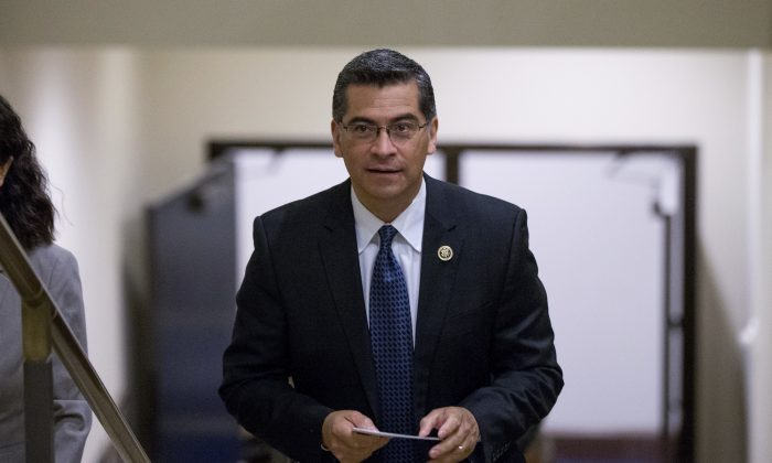 Democratic Caucus Chairman Xavier Becerra, D-Calif., arrives for a news conference in Washington. California Gov. Jerry Brown named Becerra to replace Attorney General Kamala Harris, on Dec. 1, 2016. (AP Photo/Andrew Harnik, File)