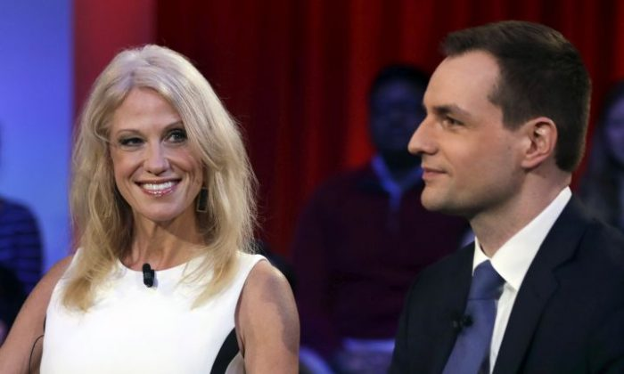 Kellyanne Conway, the campaign manager for Donald Trump, left, looks towards Robby Mook, the campaign manager for Hillary Clinton, prior to a forum at Harvard University's Kennedy School of Government in Cambridge, Mass., Thursday, Dec. 1, 2016. (AP Photo/Charles Krupa)