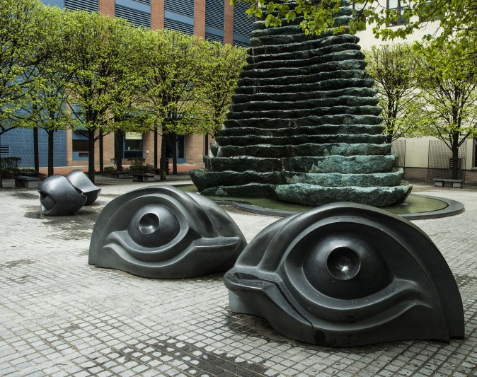 Playful park benches in downtown Pittsburgh. (Carole Jobin)