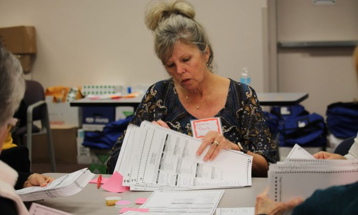 Connie Tews counts ballots in Kenosha, Wisconsin, at the request of Green Party candidate Jill Stein on Dec. 2, 2016.  The recount is being undertaken even though the results are unlikely to change the outcome. (VNEWS INTERNATIONAL LLC/AFP/Getty Images)