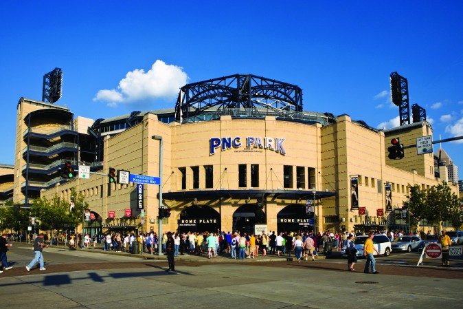Crowds of fans enter PNC Park for a Pirates baseball game. (VisitPittsburgh)