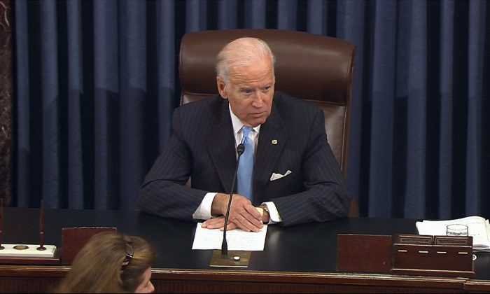 Vice President Joe Biden presides over the Senate at the U.S. Capitol in Washington, on Dec. 5, 2016. (Senate TV via AP)