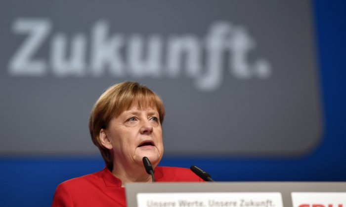 German Chancellor Angela Merkel during a general party conference of the Christian Democratic Union (CDU) in Essen, Germany, on Dec. 6, 2016. (AP Photo/Martin Meissner)
