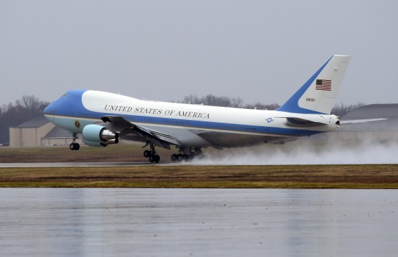 Air force One, with President Barack Obama aboard, takes off from Andrews Air Force Base, Md. on Dec. 6, 2016. President-elect Donald Trump wants the government's contract for a new Air Force One canceled. (AP Photo/Susan Walsh)