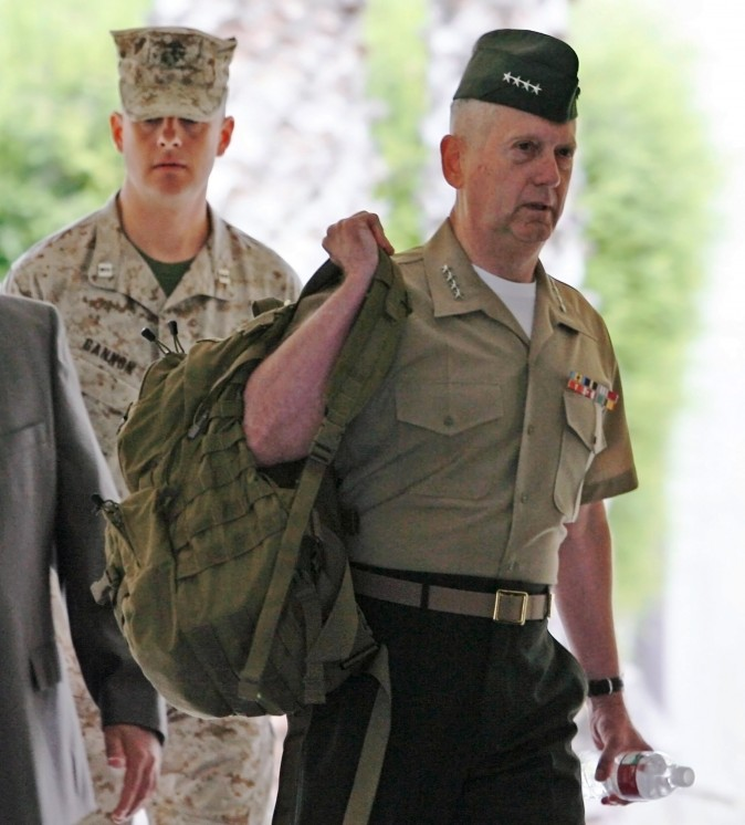 Marine Gen. James Mattis arrives at Camp Pendleton Marine Corps Base in San Diego County on June 2, 2008. (AP Photo/Denis Poroy)
